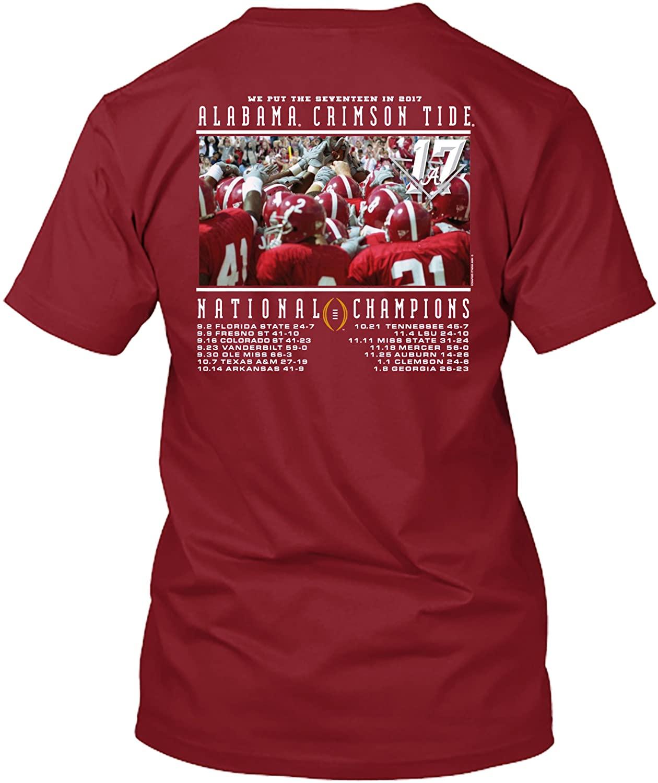 Alabama Crimson Tide T-Shirt - New World Graphics - National Champions Scores - Football - Crimson