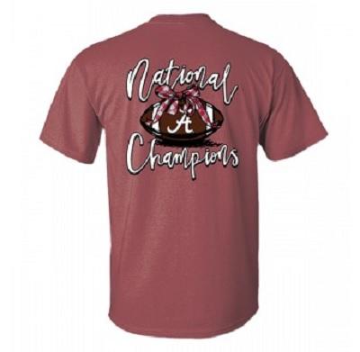 Alabama Crimson Tide 2020 National Champions Bow Football Comfort Colors T-Shirt