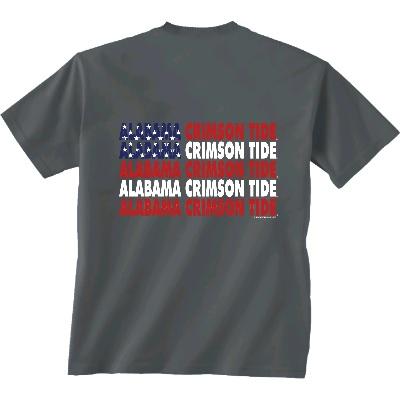 Alabama Crimson Tide T-Shirt - New World Graphics - All American - USA Flag - Grey