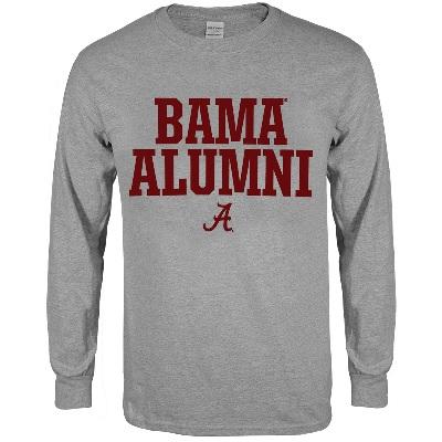 Alabama Crimson Tide T-Shirt - Weezabi - Bama Alumni - Long Sleeve - Grey