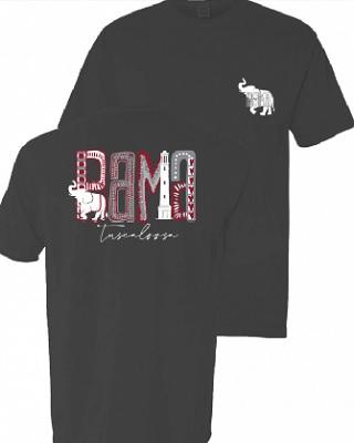 Alabama Crimson Tide T-Shirt - Ladies - Bama Tuscaloosa - Comfort Colors - Grey