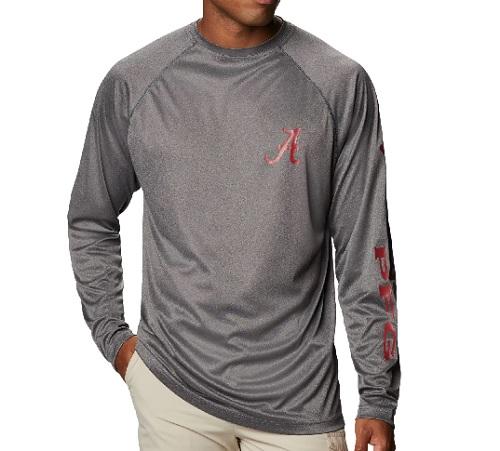 Alabama Crimson Tide Columbia Terminal Tackle Grey Long Sleeve T-Shirt