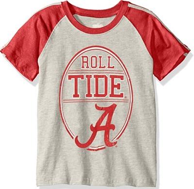 Alabama Crimson Tide T-Shirt - Youth/Kids - Roll Tide - Raglan/Baseball - Grey
