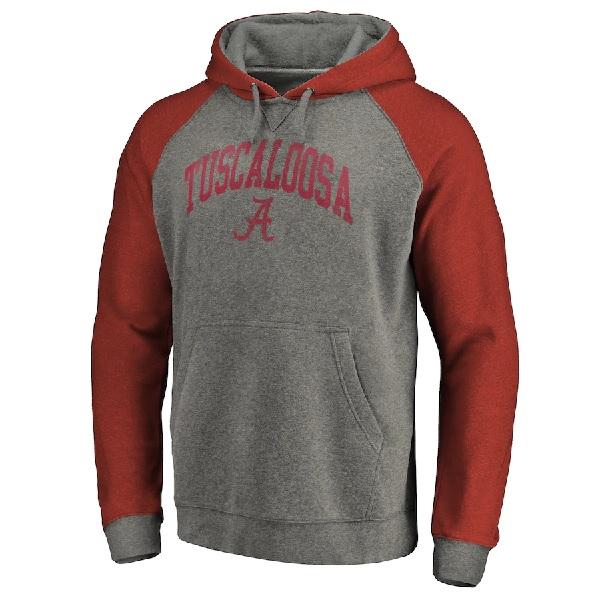 Alabama Crimson Tide Fanatics Branded Arched Tuscaloosa Tri-Blend Raglan Pullover Hoodie Gray