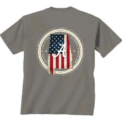 Alabama Crimson Tide T-Shirt - New World Graphics - Finest In The Land - USA Flag - Grey
