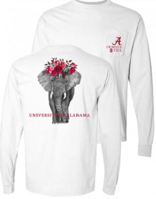 Alabama Crimson Tide T-Shirt - Ladies - University of Alabama - Flowers - Pocket - Comfort Colors - Long Sleeve - White
