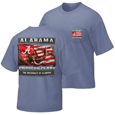 Alabama Crimson Tide T-Shirt - Campus Collection - Alabama Glory University of Alabama - USA Flag - Pocket - Blue