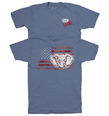 Alabama Crimson Tide T-Shirt - New World Graphics - Loyal - USA Flag - Comfort Colors - Blue