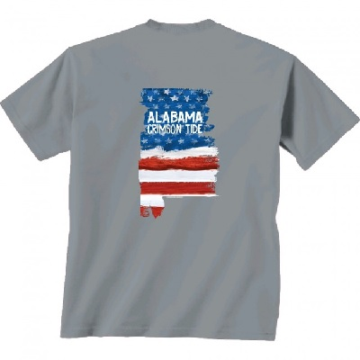 Alabama Crimson Tide T-Shirt - New World Graphics - USA Flag - Grey