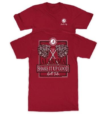 Alabama Crimson Tide T-Shirt - New World Graphics - Ladies - Shake It Up Good Roll Tide - Crimson