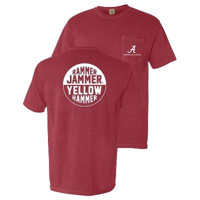 Alabama Crimson Tide T-Shirt - Campus Collection - Rammer Jammer Yellow Hammer - Pocket - Comfort Colors - Crimson