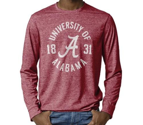 Alabama Crimson Tide Reclaim Tri-Blend Long Sleeve T-Shirt