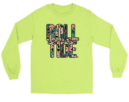 Alabama Crimson Tide T-Shirt - Venley - Ladies - Roll Tide - Flowers - Long Sleeve - Yellow
