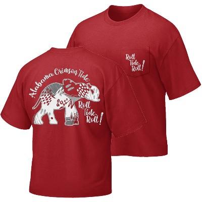 Alabama Crimson Tide T-Shirt - Campus Collection - Ladies - Tide Roll Tide Roll - Pocket - Comfort Colors - Crimson