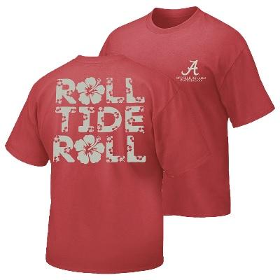 Alabama Crimson Tide T-Shirt - Ladies - Roll Tide Roll - Flowers - Crimson