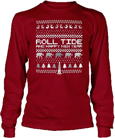 Alabama Crimson Tide T-Shirt - All Conference Apparel - Ladies - Roll Tide And Happy New Year - Christmas - Long Sleeve - Crimson