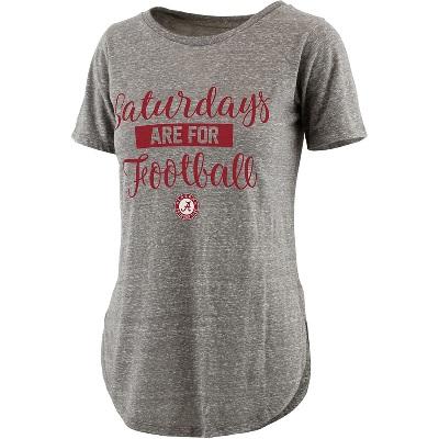 Alabama Crimson Tide T-Shirt - Ladies - Saturdays Are For Football - Football - Scoop - Grey