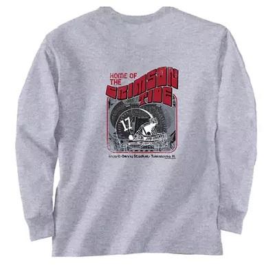 Alabama Crimson Tide T-Shirt - Home Of The Bryant Denny Stadium - Stadium - Comfort Colors - Long Sleeve - Grey