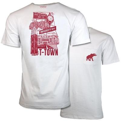 Alabama Crimson Tide T-Shirt - Tuskwear - University T-Town - Pocket - Comfort Colors - White