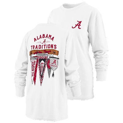 Alabama Crimson Tide T-Shirt - Pressbox - Ladies - Traditions - Long Sleeve - White