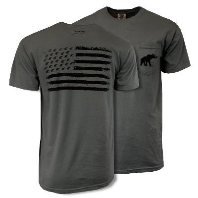 Alabama Crimson Tide T-Shirt - Tuskwear - USA Flag - Pocket - Comfort Colors - Grey