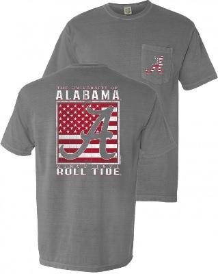 Alabama Crimson Tide T-Shirt - University of Alabama Roll Tide - USA Flag - Pocket - Comfort Colors - Grey