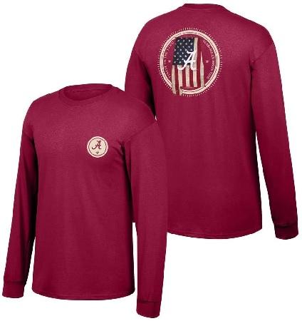Alabama Crimson Tide T-Shirt - Finest In The Land - USA Flag - Long Sleeve - Crimson