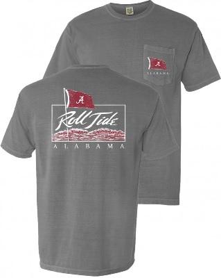 Alabama Crimson Tide T-Shirt - Roll Tide - Pocket - Comfort Colors - Grey