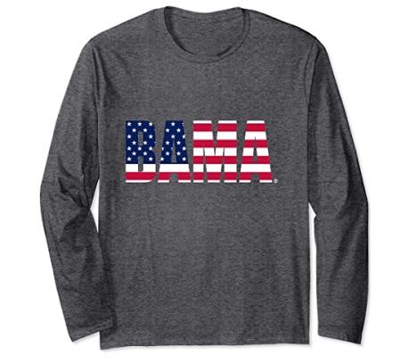 Alabama Crimson Tide T-Shirt - Venley - Ladies - Bama - USA Flag - Long Sleeve - Grey