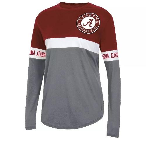Alabama Crimson Tide Womens Multi Color Circle Logo Long Sleeve T-Shirt