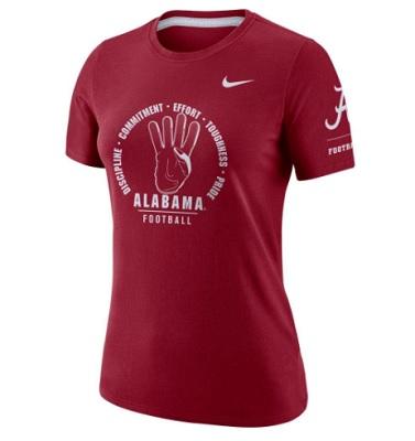 Alabama Crimson Tide T-Shirt - Nike - Ladies - Football Discipline Commitment Effort Toughness Pride - Football - Crimson