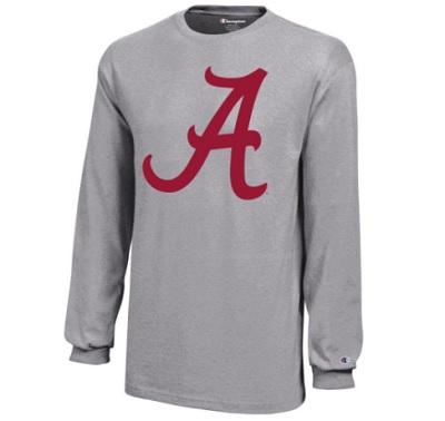 Alabama Crimson Tide T-Shirt - Champion - Youth/Kids - Long Sleeve - Grey