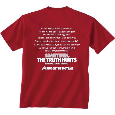 Alabama Crimson Tide T-Shirt - New World Graphics - Sometimes The Truth Hurts Football - Football - Crimson