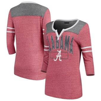 Alabama Crimson Tide T-Shirt - 5th & Ocean - Ladies V-Neck - Three Quarter Sleeve - Crimson