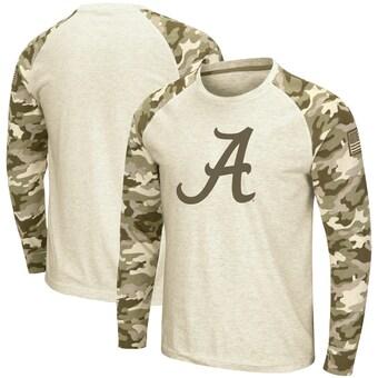 Alabama Crimson Tide T-Shirt - Colosseum - Memorial Day - USA Flag - Long Sleeve - White