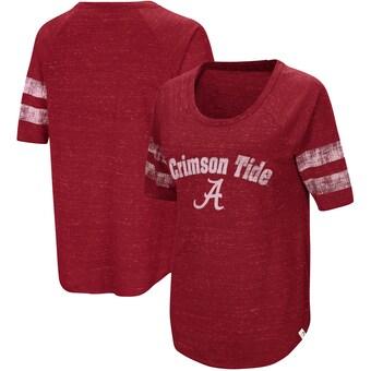 Alabama Crimson Tide T-Shirt - Colosseum - Ladies - Raglan/Baseball - Scoop - Crimson