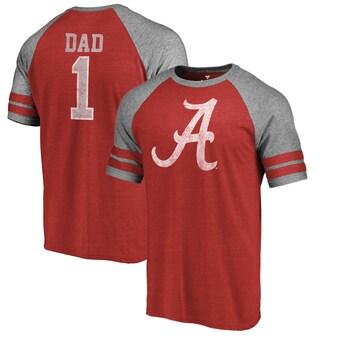 Alabama Crimson Tide T-Shirt - Fanatics Brand - Dad - Raglan/Baseball - Crimson