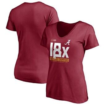 Alabama Crimson Tide T-Shirt - Fanatics Brand - Ladies - 18x National Champions - Football - V-Neck - Crimson