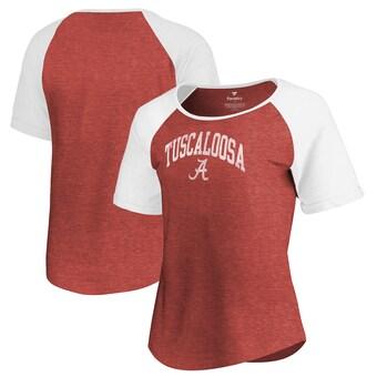 Alabama Crimson Tide T-Shirt - Fanatics Brand - Ladies - Tuscaloosa - Raglan/Baseball - Crimson