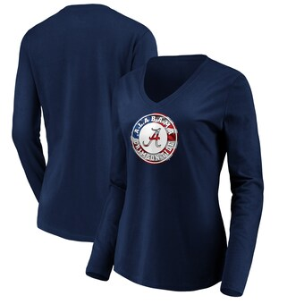 Alabama Crimson Tide T-Shirt - Fanatics Brand - Ladies - July 4th - USA Flag - V-Neck - Long Sleeve - Blue