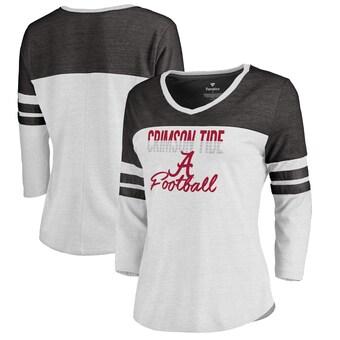 Alabama Crimson Tide T-Shirt - Fanatics Brand - Ladies -  Football - Football - Raglan/Baseball - Three Quarter Sleeve - White
