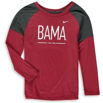 Alabama Crimson Tide T-Shirt - Nike - Youth/Kids - BAMA - Raglan/Baseball - Long Sleeve - Crimson