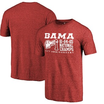 Alabama Crimson Tide T-Shirt - Fanatics Brand - Bama 1961 1964 1965 National Champs - Football - Crimson