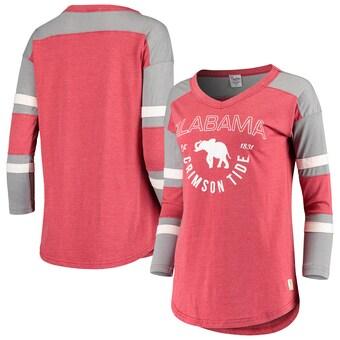 Alabama Crimson Tide T-Shirt - Pressbox - Ladies - V-Neck - Three Quarter Sleeve - Crimson