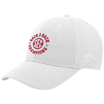 Alabama Crimson Tide Top of the World 2015 SEC Conference Football Champions Back 2 Back Adjustable Hat White