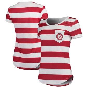 Alabama Crimson Tide T-Shirt - ZooZatz - Ladies - Pocket - Striped - Crimson