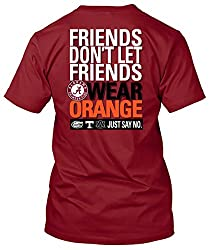Alabama Crimson Tide T-Shirt - New World Graphics - Friends Don't Let Friends Wear Orange Just Say No - Crimson