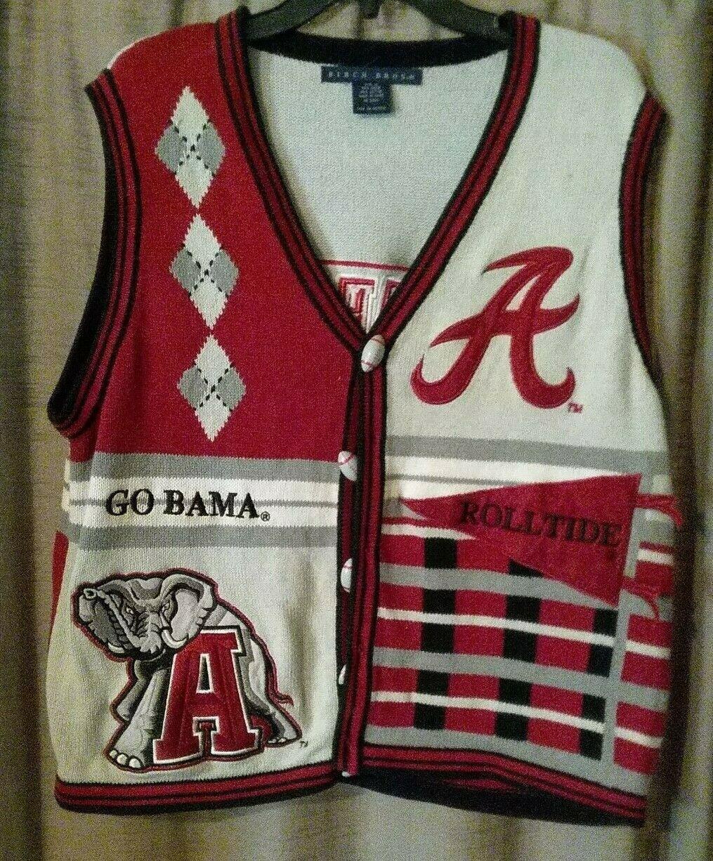 Vintage University Of Alabama Football Sweater Vest Crimson Tide